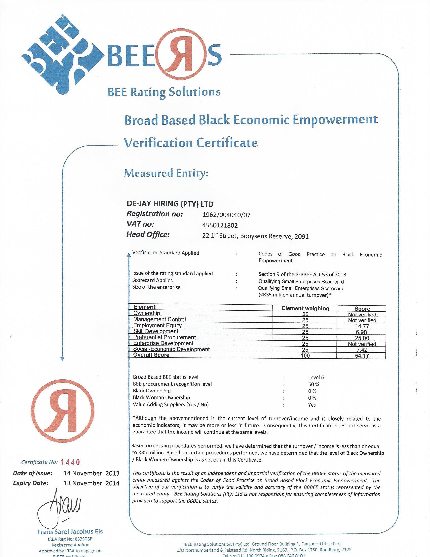 BEE-Certificate-2013